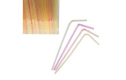 Трубочки со сгибом неоновые L= 21см (1000шт); пластик; D=0,5, L=21см; разноцветные.